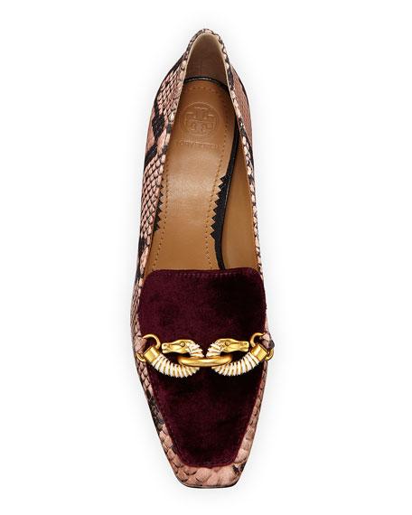 Tory Burch Jessa Snake-Print Loafers