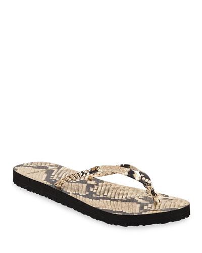 Snake-Print Flat Thong Sandals