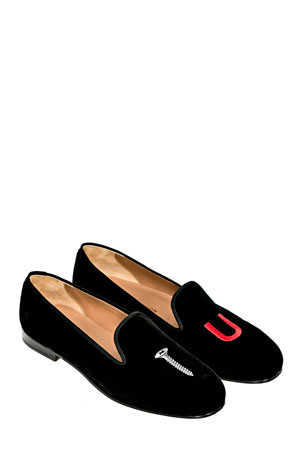 Stubbs and Wootton College Embroidered Velvet Slippers