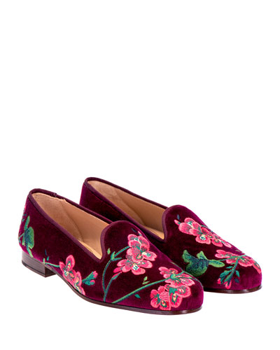 Geraniums Velvet Slippers