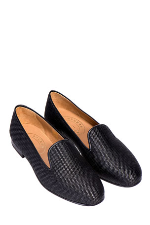 Stubbs and Wootton Woven Raffia Slippers