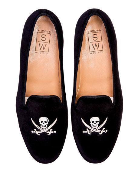 Stubbs and Wootton Skull Velvet Slippers