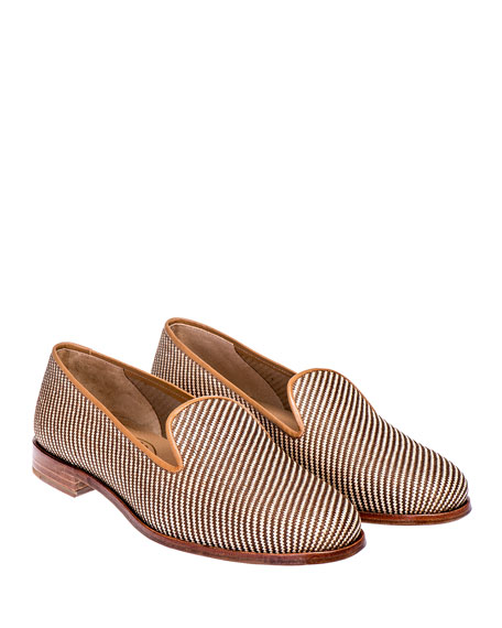 Stubbs and Wootton Woven Straw Slippers
