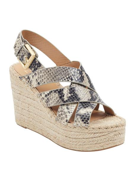 Marc Fisher LTD Alenni Snake-Print Wedge Sandals