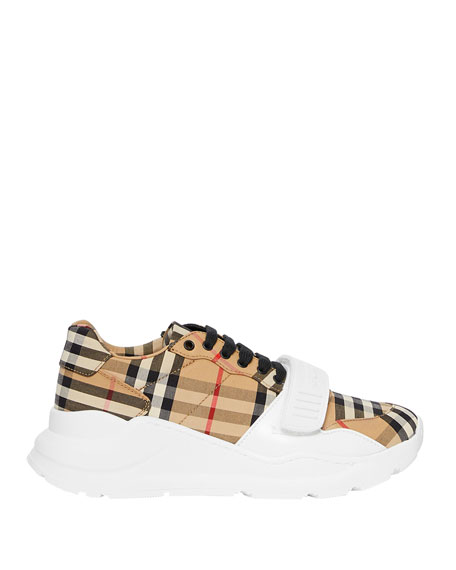 Burberry Regis Check Low-Top Sneakers with Exaggerated Sole