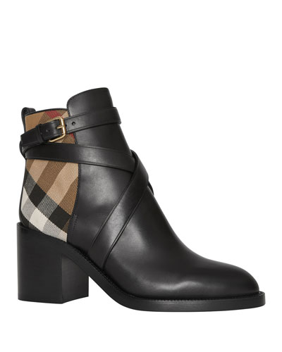 Pryle Check and Leather Booties