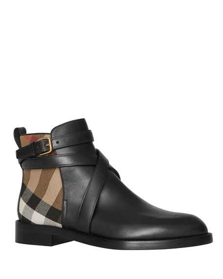 Burberry Pryle Check and Leather Booties