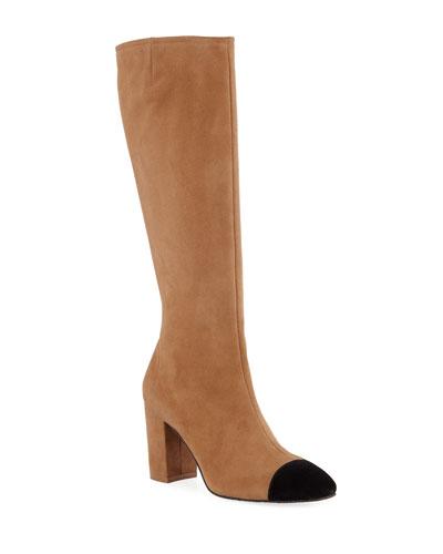 Jacinda Two-Tone Suede Knee Boots