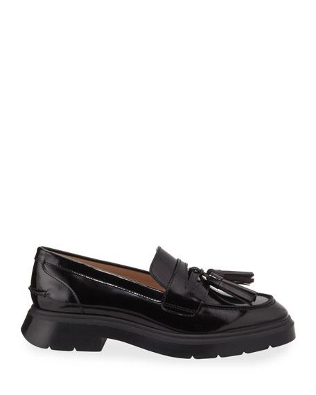 Stuart Weitzman Plum Shiny Tassel Loafers