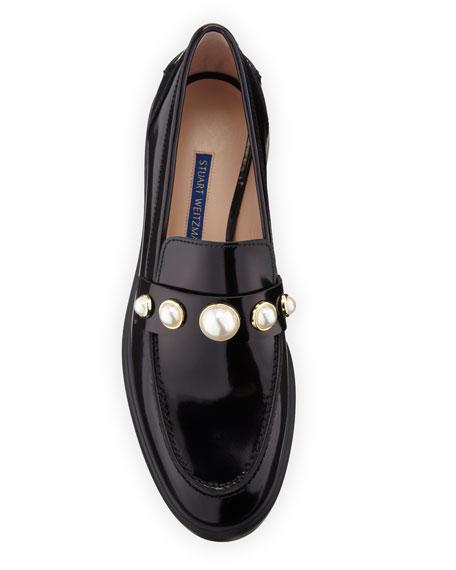 Stuart Weitzman Suki Patent Pearly Loafers