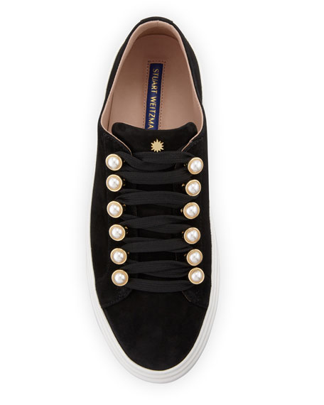 Stuart Weitzman Excelsa Pearly-Detail Suede Low-Top Sneakers