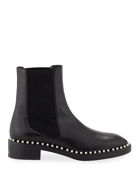 Stuart Weitzman Cline Pearly Studded Leather Chelsea Booties