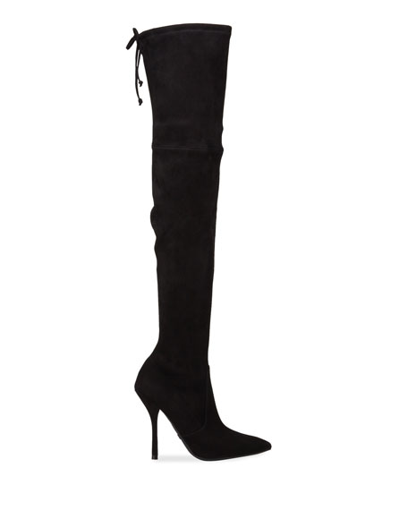 Stuart Weitzman Arla Suede Pointed Toe Thigh High Boots