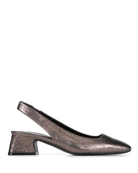 Donald J Pliner Breea Low-Heel Metallic Leather Slingback Pumps