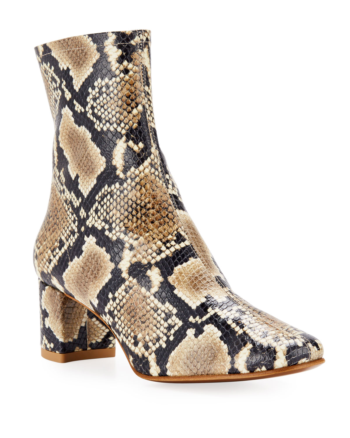 BY FAR Sofia Snake-Print Booties