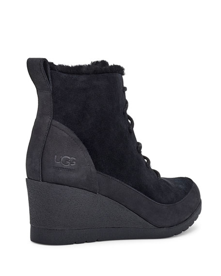 UGG Bridgit Waterproof Wedge Shearling Booties