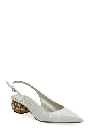 Rene Caovilla Slingback Pumps with Pearly Heel