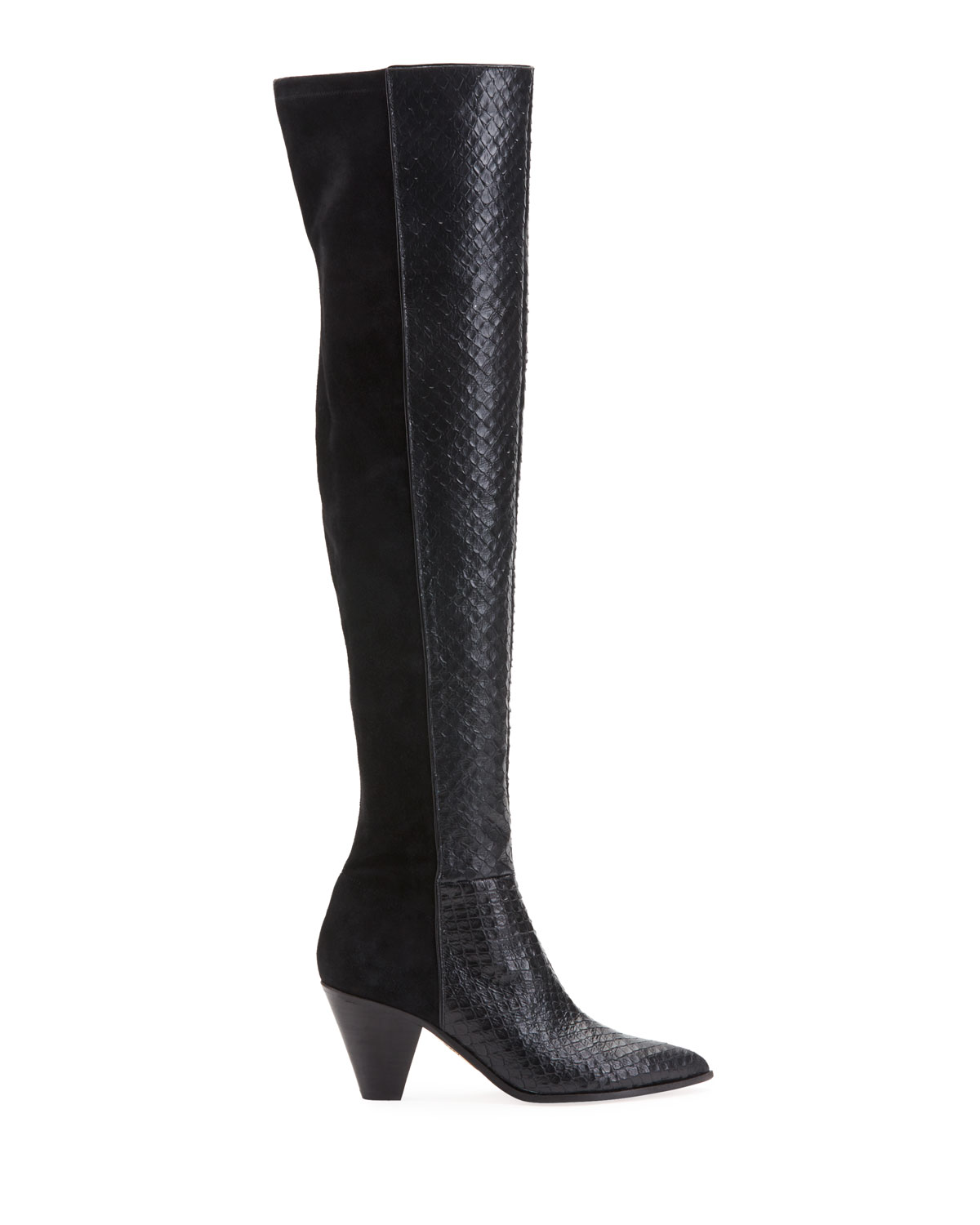 Anaconda Print Leather & Suede Thigh High Boots by Aquazzura