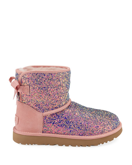 UGG Classic Mini Bow Cosmos Booties, Quartz Pink