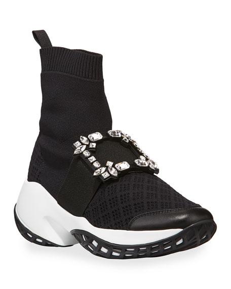 Roger Vivier Viv' Run Crystal Sneaker-Style Booties