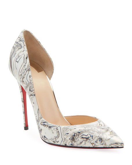 Christian Louboutin Iriza Marble Open-Side Red Sole Pumps