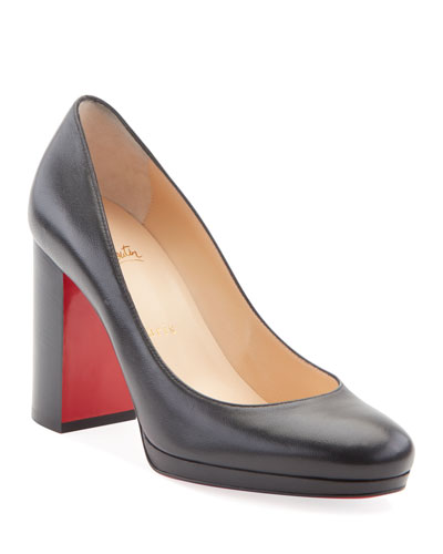 Kabetts Leather Block-Heel Red Sole Pumps