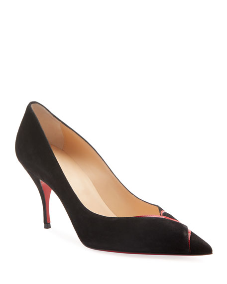 Christian Louboutin CL Suede Pointed Red Sole Pumps