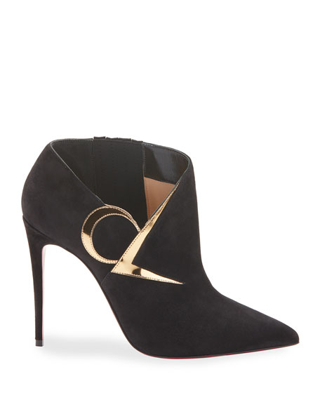 Christian Louboutin CL Suede Red Sole Booties