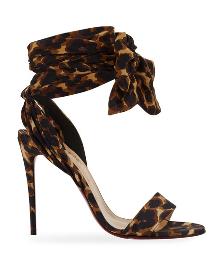 Christian Louboutin Sandale Du Desert Leopard Red Sole Sandals
