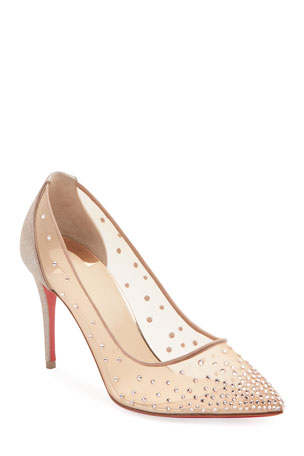 Christian Louboutin Follies Shimmery Cocktail Red Sole Pumps