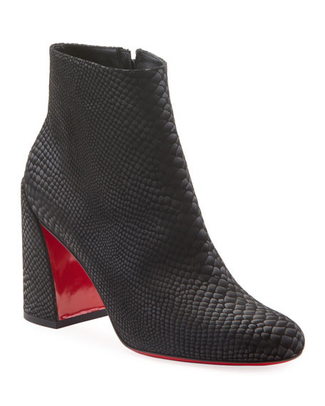 Christian Louboutin Turela Exotic-Embossed Red Sole Booties