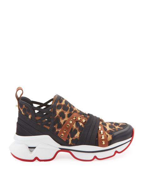Christian Louboutin 123 Run Leopard Red Sole Sneakers
