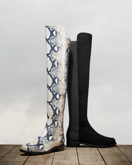 Stuart Weitzman 50 / 50 Python-Printed Leather Boots