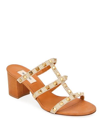 Rockstud Caged Woven Straw Slide Sandals