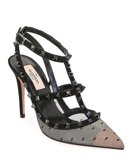 Valentino Garavani Pizzo Pois Rockstud Ankle-Strap Pumps