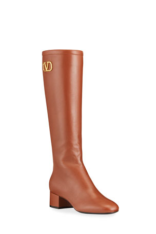 Valentino Garavani VLOGO Napa Leather Knee Boots