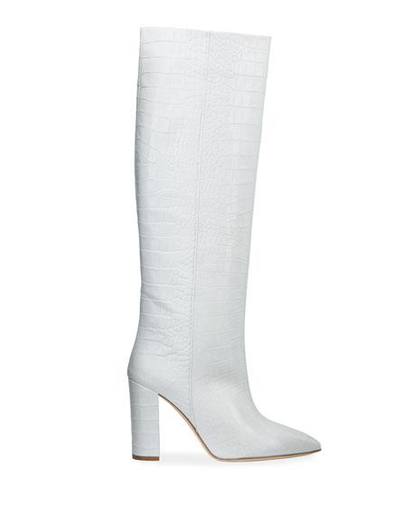 Paris Texas Croc-Embossed Leather Knee Boots