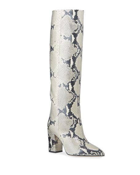Paris Texas Python-Print Leather Boots