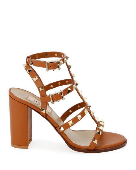 Valentino Garavani Rockstud Caged Leather 90mm City Sandals