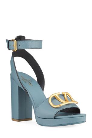 Valentino Garavani VLOGO Chunky-Heel Sandals