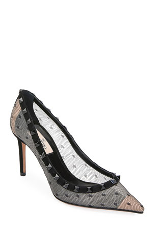 Valentino Garavani Rockstud Pointed-Toe Point d'Esprit Mesh Pumps