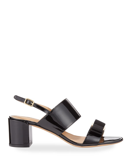 Image 2 of 3: Salvatore Ferragamo Giulia Patent Leather Vara Bow Sandals
