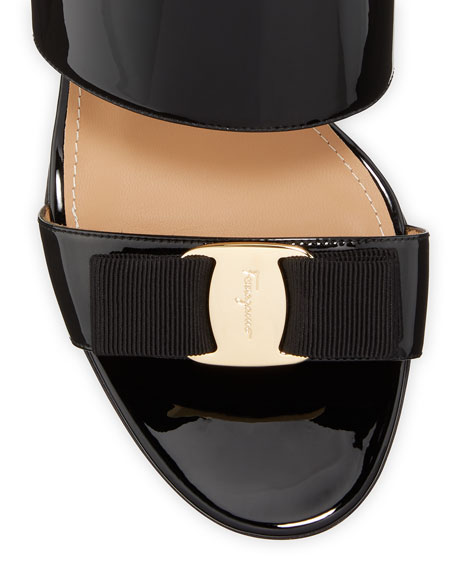 Image 3 of 3: Salvatore Ferragamo Giulia Patent Leather Vara Bow Sandals