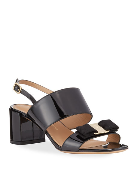 Image 1 of 3: Salvatore Ferragamo Giulia Patent Leather Vara Bow Sandals