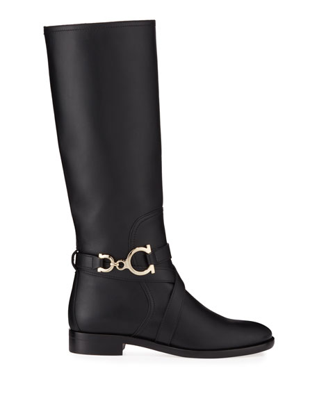 Image 2 of 3: Salvatore Ferragamo Sarah Riding Knee Boots