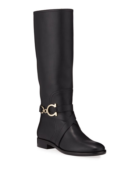 Image 1 of 3: Salvatore Ferragamo Sarah Riding Knee Boots