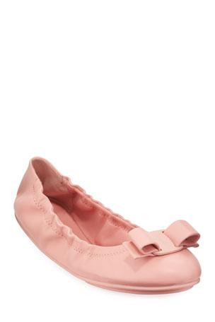 Salvatore Ferragamo Lizink Leather Vara Bow Ballet Flats