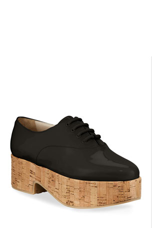 Salvatore Ferragamo Viviane Patent Cork-Heel Oxfords