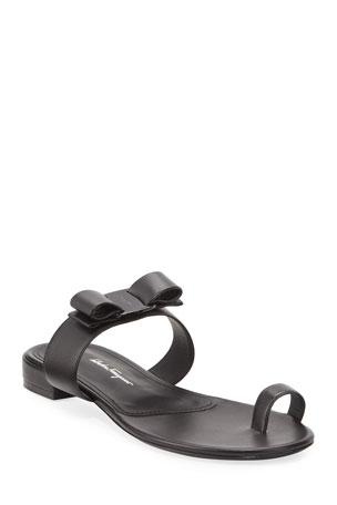 Salvatore Ferragamo Louisa Toe-Ring Leather Bow Sandals