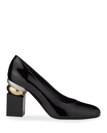 Salvatore Ferragamo Lilian Patent Leather Pumps with Heel Detail